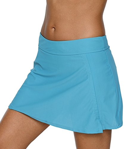 CharmLeaks Womens Swimsuit Skirted Swim Bottoms for Women Skirt Bottoms Swim Skorts Aqua ()