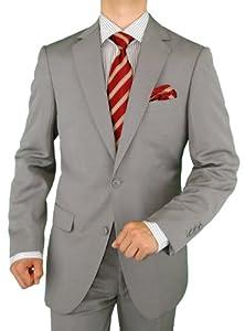 B008HJQY38 Gino Valentino Men's 2 Button Faint Herringbone Light Gray Suit (46 Regular)