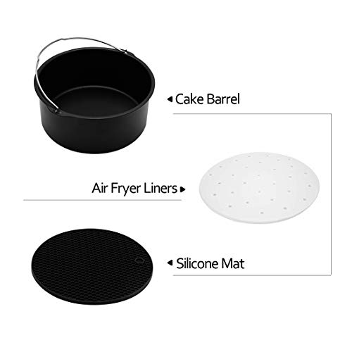 Air Fryer Accessories, Deep Fryer Accessories Fit all 3.2QT-6QT Air Fryer, Set of 7 Pcs Including Cake Barrel, Multipurpose Grille Rack, Silicone Mat, Paper Liners, Silicone Brush …