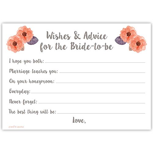 Bridal Wishes and Advice Cards For Bride To Be - 50 Count