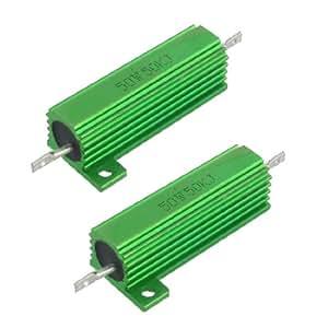 50W 50K Ohm Screw Tap Mounted Aluminum Housed Wirewound Resistors 2 Pcs