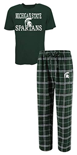 NCAA Michigan State Spartans Men's Shirt and Pajama Pants Flannel PJ Sleep Set XL 40-42 -