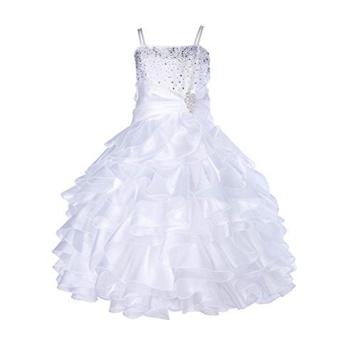 Elegant Stunning Rhinestone Organza Pleated Ruffled Flower girl dress 164s 16