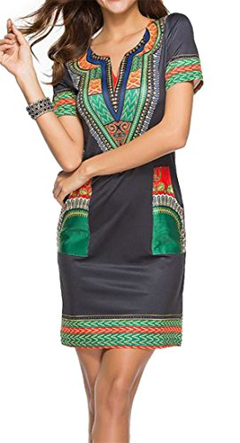 Womens Black2 Cromoncent African Style Neck Dress Bodycon Midi V Fit Slim Ethnic Print Dashiki Hqqx1R6Swd