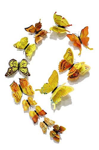 - FiveRen 12 Pcs 1 Pack Beautiful Double Wing 3D Butterfly Wall Stickers, Vivid Fridge Magnet Home Decor Art Applique DIY Crafts Removable for Babys Bedroom TV Background Living Room, Yellow
