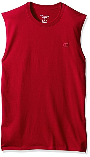 Champion Men's Classic Jersey Muscle T-Shirt, Scarlet, XL - Red Sleeveless Shirt