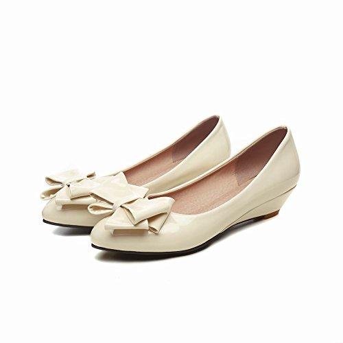 Carolbar Kvinna Spetsig Tå Bågar Tillfälliga Låg Klack Klänning Flats Shoes Beige