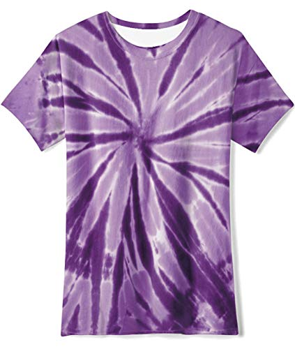 Teen Girls Boys Tee Top Tie Dye Vintage Spiral Purple Youth T-Shirt for Party Camp Holiday Size 10-12T ()