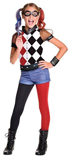 Group Superhero Halloween Costumes (Rubie's DC Superhero Girl's Harley Quinn Costume, Large)