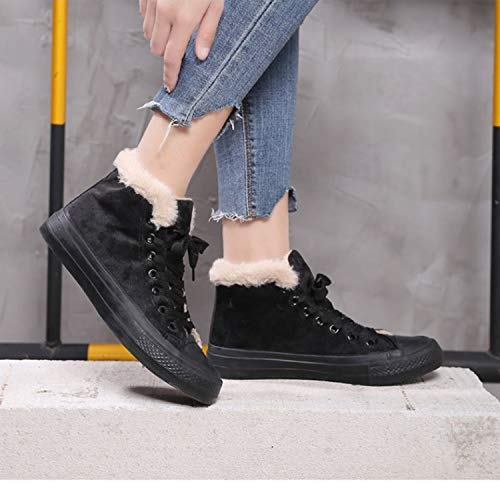 HaHapo Warm Winter Shoes Woman Snow Boots Fashion Winter Botas for Female Casual Shoes,Black,9