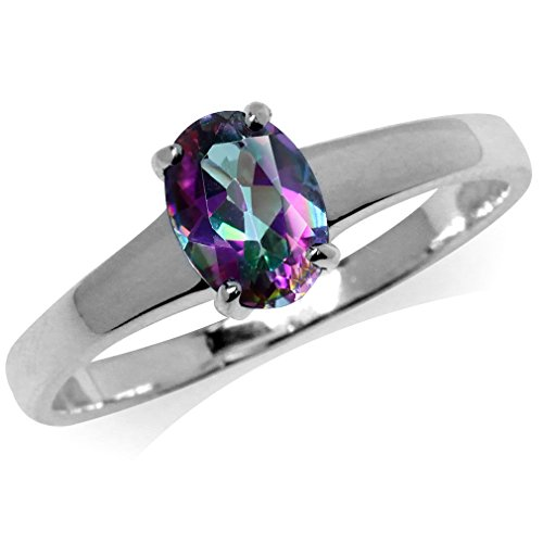 925 Sterling Silver Solitaire - Mystic Fire Topaz 925 Sterling Silver Solitaire Ring Size 9