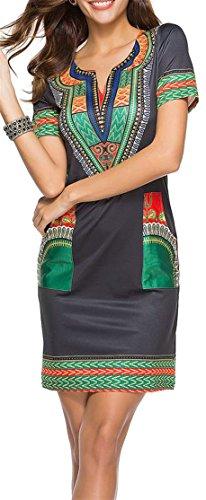 Cromoncent Des Femmes De Dashiki Occasionnel Imprimé V Cou À Manches Courtes Robe Moulante Vert