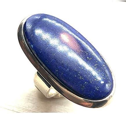 Colección Zanzybar – Anillo de Plata 925 Grande Ajustable con Piedra Ovalada lapislázuli Modelo Lazlo Talla – 60