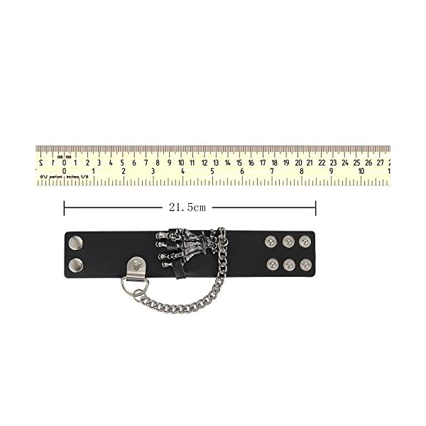 Aroncent 3pcs Unisex Black Brown Metal Spike Studded Punk Rock Biker Wide Strap Leather Bracelet Chain Wristband Adjustable