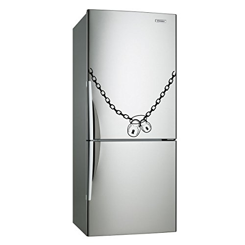 Free 16' Chain - ( 16'' x 12'') Vinyl Fridge Decal Lock & Chain / Locks that Close Refrigerator Art Decor Removable Home Sticker / DIY Mural + Free Random Decal Gift!