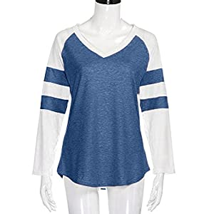 ZOMUSA Clearance Women's Striped Long Sleeve V Neck Jersey Tunic Loose Baseball T Shirt Tops (L, Blue)