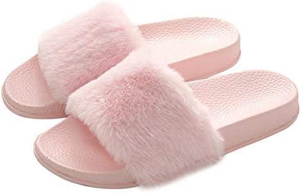 Women's Slippers Fuzzy Slides, Fluffy