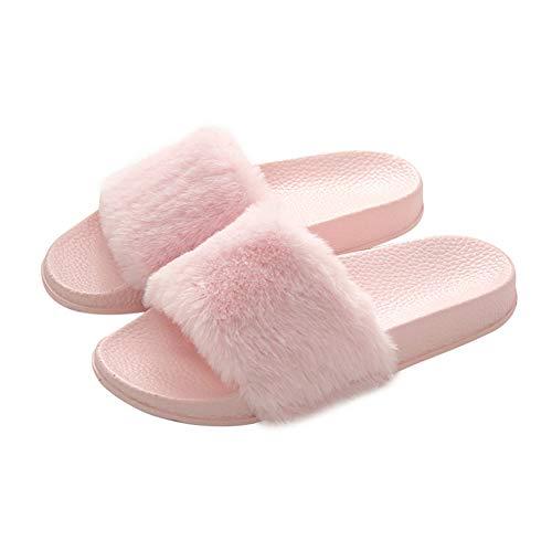 Women's Slippers Fuzzy Slides Fluffy Sandals Faux Fur Flip F