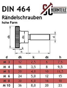 - SC464 R/ändelschrauben - M6x25 - hohe Form VA - DIN 464 aus rostfreiem Edelstahl A1 2 St/ück