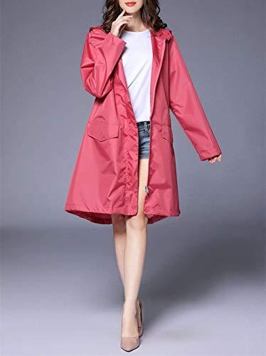 Modernas Casual Y Las Poncho Impermeable Libre De Capucha Mujeres Haidean Rosa Impermeables Al Aire Mirada Clásica Con w08xA4Uq