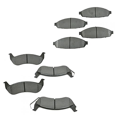 Semi Metallic Brake Pad Kit Front & Rear Set for Ford Mercury (Crown Victoria Front Brake Pads)