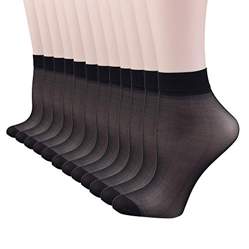 - Fitu Women's 30D Sheer 12 Pairs Nylon Ankle High Tights Hosiery Socks (Black)