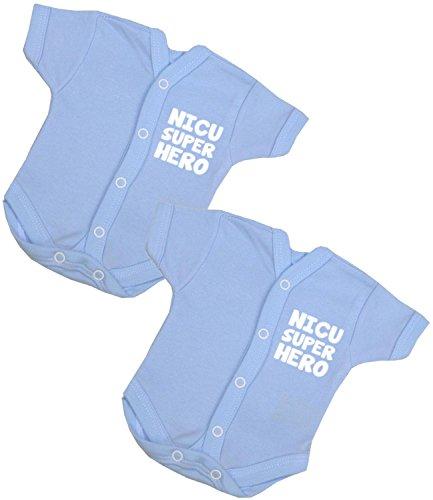 BabyPrem 2 Preemie Baby One Pieces Clothes NICU SUPERHERO 3.5-5.5lb BLUE PREM 2