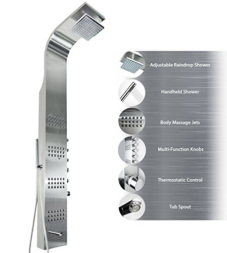 """AKDY AZ-8727B 59"""" Thermostatic Stainless Steel Rainfall Shower Panel Tower Simultaneous Overhead Rainfall, Body Massage Jets, Hand Shower and Tub Spout"""