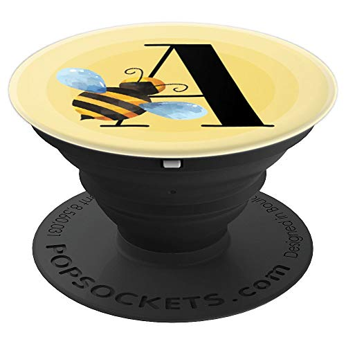 Bee Bumblebee Honeybee Monogram Name Initial Letter A - PopSockets Grip and Stand for Phones and Tablets