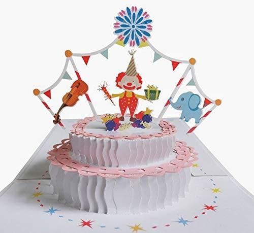 Tarjeta de cumpleaños emergente 3D hecha a mano payaso circo ...