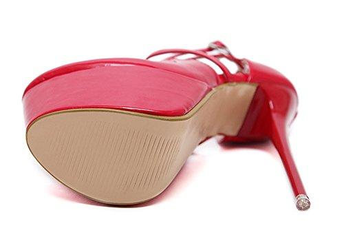 Aisun Damen Sexy Lack Kunstleder Riemchen Cut Out Plateau Stiletto Sandale mit Schnalle Rot