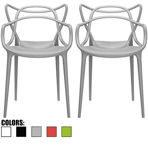 2xhome Set of 2 Gray Stackable Contemporary Modern Designer Wire Plastic Chairs with Arms Open Back Armchairs for Kitchen Dining Chair Outdoor Patio Bedroom Accent Balcony Office Work Garden Home