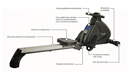 Avari A350-700 Stamina Programmable Magnetic Exercise Rower, 81'' L x 20'' W x 24.5'' H, Black/Silver by Avari (Image #2)
