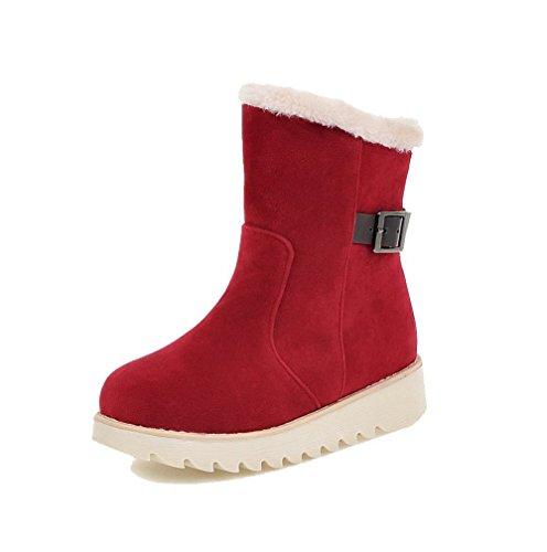 AgooLar Damen Mattglasbirne Ziehen auf Rund Zehe Niedriger Absatz Rein Stiefel Rot