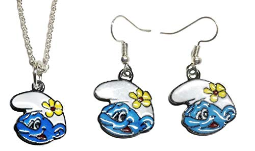 Smurfs Vanity Smurf Face Enamel Metal Necklace & French Wire Earrings