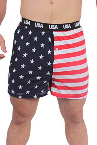 Exist MEN'S USA American Flag Patriotic USA Boxers Small
