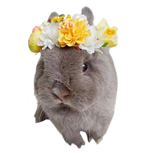 Stock Show Small Animal Handmade Flower Headband Cute Beautiful Wreath Floral Garland Crown Headpiece with Ribbon for Small Pet Rabbits Guinea Pigs Hamster Festival Wedding Party Photo Props, -