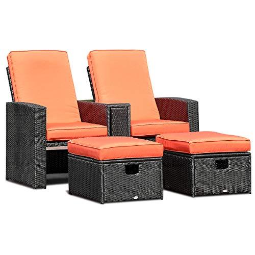 TANGKULA 3 PCS Patio Adjustable Backrest Rattan Sofa Ottoman Furniture Set Outdoor Garden Lawn Conversation Sofa Furniture Set w/Cushions Foot Rest (Outdoor Wide Sofa)