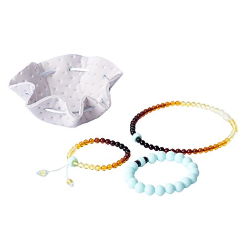Baltic Amber Teething Necklace Set for Babies - Baby Teether Necklace + Bracelet w/ Anti-Inflammatory, Drooling & Teething Pain Relief Properties | Unique Design | Great Baby Shower Gift - Blue