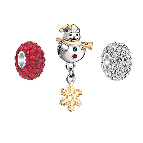 CandyCharms Snowman Snowflake 3 Charms Red White Crystal Birthstone Beads (Charm Snowman Red)