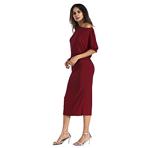 Dress Bodycon Midi AME Off Sleeve Half Solid Burgundry Pencil Shoulder Women Party Sexy qptO0x