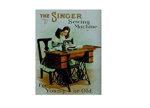 FemiaD The Singer Sewing Machine for Young Or Old Retro Quote Vintage Style Metal Advertising Wall Plaque Sign 12 X 16 in