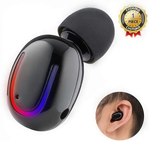 Wireless Bluetooth Earbud, CHSMONB Single Bluetooth Earphone 5 Hours Playtime Mini Invisible Bluetooth Headphone with Microphone Compatible for Cell Phone Black