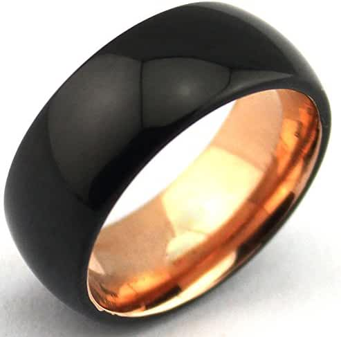 Black Domed Tungsten Carbide Rings Rose Gold Interior, 8mm Mens Wedding Bands Comfor Fit Unique Wedding Anniversary Rings for Men Women