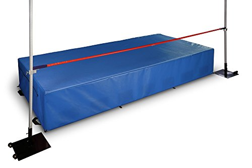 Elementary and Middle School Track & Field high Jump Pit, Crossbar, Standards, and Waterproof Cover. Ten Year Warranty.