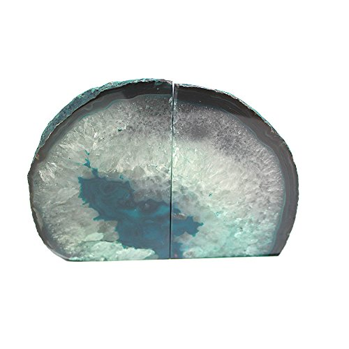 Teal Agate Bookend Pair - 6 to 9 lb - Geode Bookend with Rock Paradise Exclusive - Green Bookends