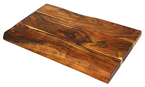 Mountain Woods Hand Crafted LIVE EDGE Cutting Board/Serving Tray made with Solid Acacia Hard Wood, 20