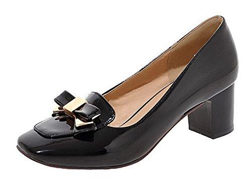 Solid On Women's Shoes Pumps WeiPoot PU Pull Black Kitten Heels q7YwpfExa