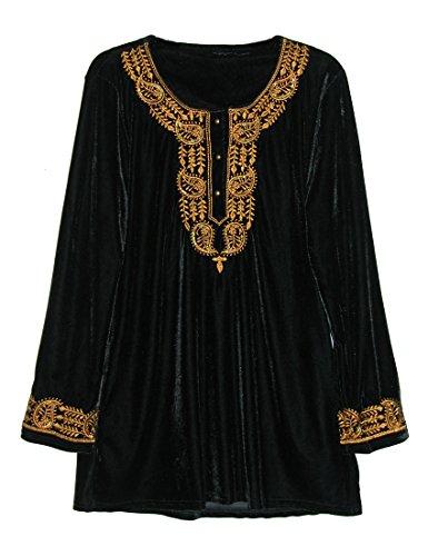 La Cera Women's Velvet Top Plus Size 2X Black/Gold