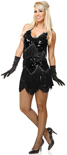 ium 8-10 Black Roaring 20s Fringed Sequin Flapper Costume Dress ()